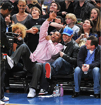 Sitting with Anthony Anderson, left, Wahlberg took in Madison Square Garden as the Celtics took on the New York Knicks in April 2010.