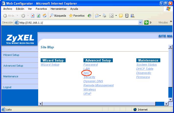 Figura 10. Opciones de configuración del router Zyxel 650HW-31