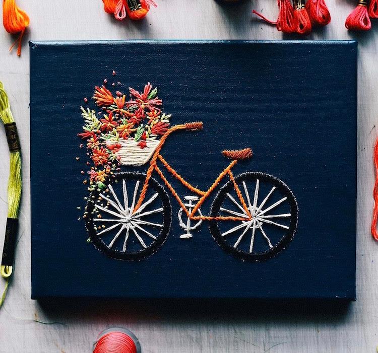 Bicyclette Broderie Fleurs Art vélo Série Velo TrueFort Walker Boyes