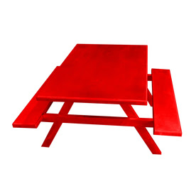 Shop Ofab Red Cast Aluminum Rectangle Picnic Table with Benches at
