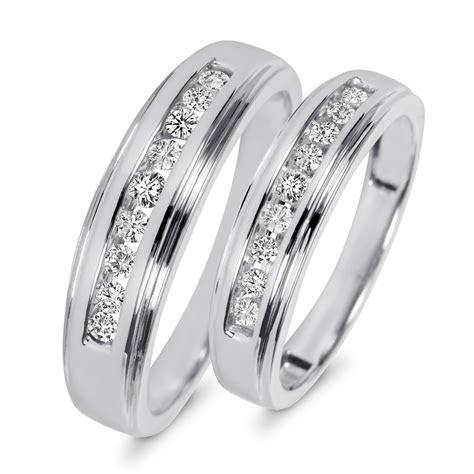 3/8 Carat T.W. Diamond His And Hers Wedding Band Set 10K