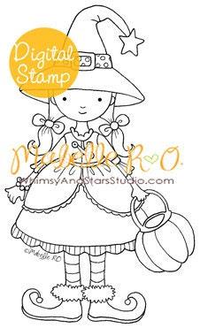 Instant Download Digital Stamp: Halloween Girl