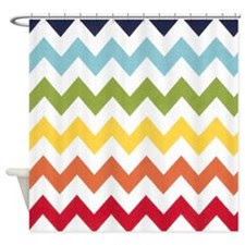 Red Chevron Shower Curtains | Red Chevron Fabric Shower Curtain Liner