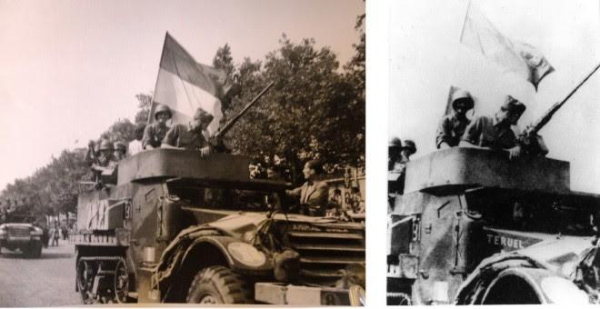 Los soldados de 'La Nueve' desfilan por los Campos Elíseos de París hondeando banderas republicanas, el 26 de agosto de 1944.