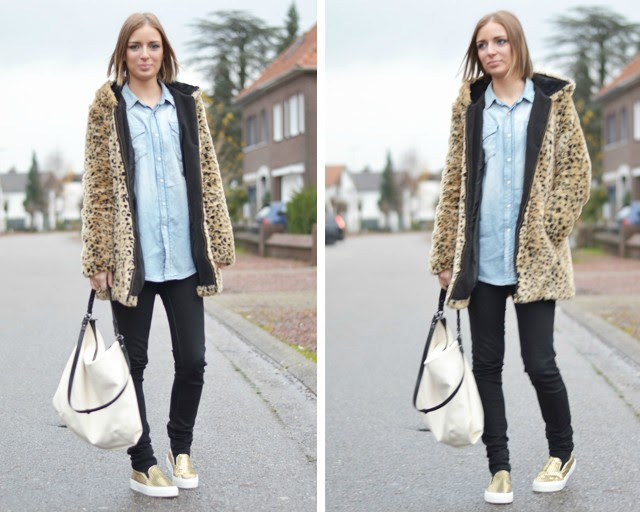 Zara trf leopard faux fur coat animal print h&m denim jeans oversized boyfriend shirt black skinny jeans asos perforated mesh dialog golden slip on sneakers zara white bag outfit post fashion blogger turn it inside out belgium winter outfit inspiration