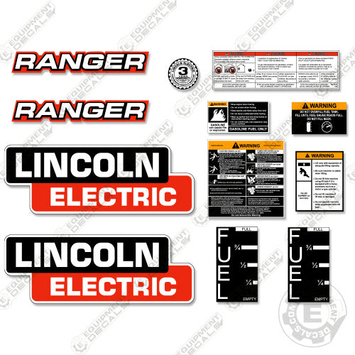 Lincoln Electric Ranger Decal Kit Generator Welder Equipment Decals
