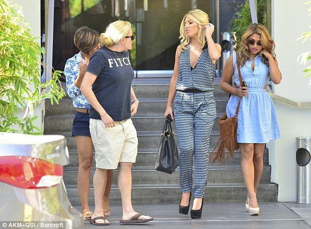 Working hard: The girls headed to a studio earlier in the day after grabbing lunch with a friend