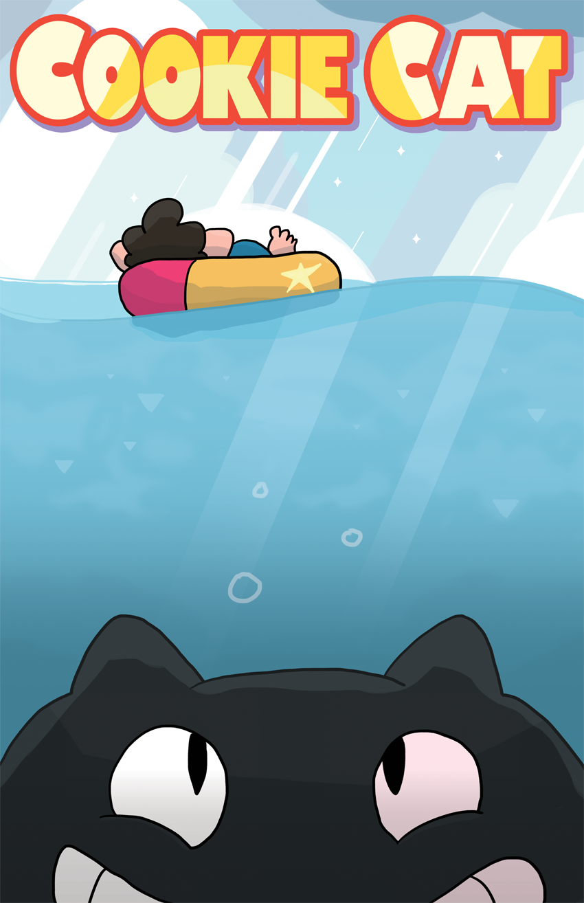 For class we had to take an iconic art style and combine it with a famous movie, so I did Steven Universe and Jaws!