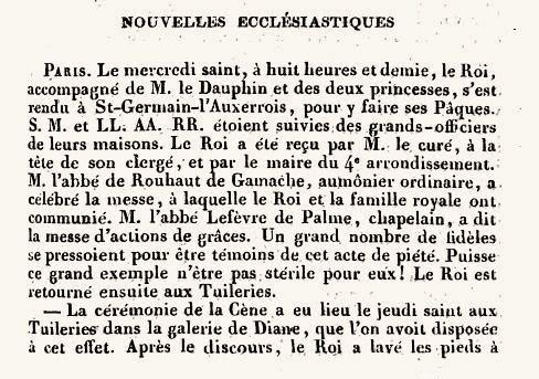 nouvelles-ecclesiastiques-semaine-sainte-1830-1 1830 dans Memento