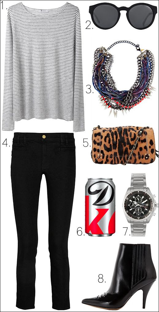 LE FASHION BLOG OUTFIT COLLAGE Alexander Wang Striped Long Sleeve Tee Stella McCartney Round Sunglasses Assad Mounser Necklace MiH Jeans Paris Cropped Jeans Jerome Dreyfuss Leopard Bag Diet Coke Casio Stainless Steel Watch 31 Phillip Lim Delia Boots