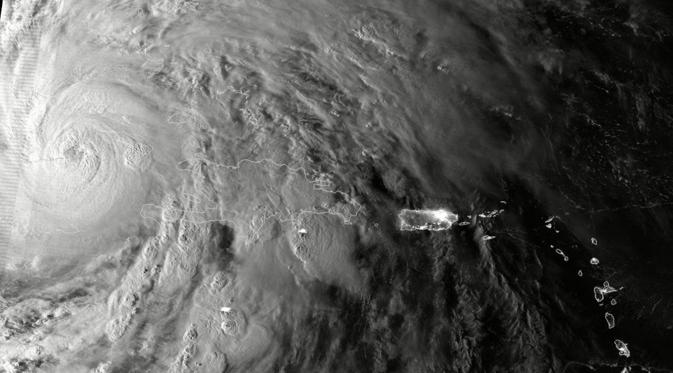 Eye of the storm: Hurricane Sandy after it made landfall over Cuba and Jamaica, capturing this highly detailed infrared satellite image, showing areas of deep convection around the central eye