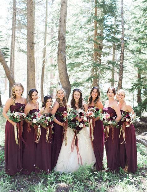 Fall wedding inspiration! Maroon bridesmaids in Long Wine