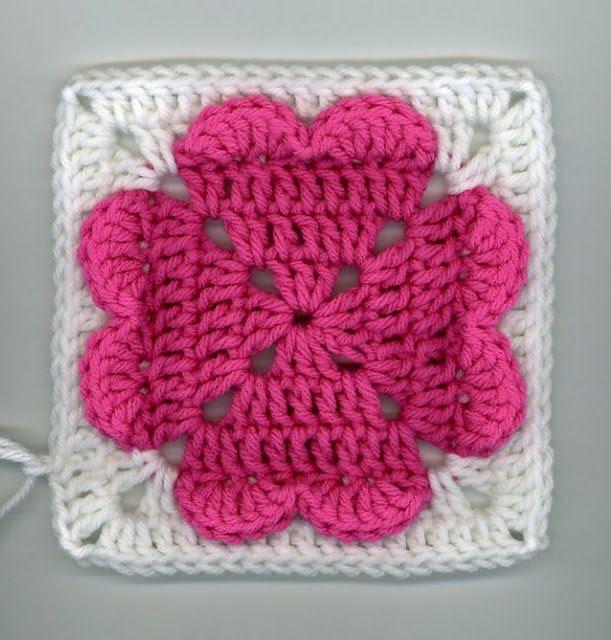 Free Crochet 4 hearts square Pattern.