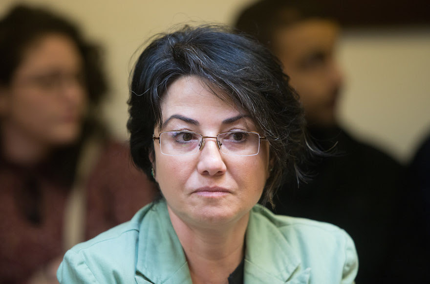 Hanin Zoabi attending the weekly Joint Arab list meeting at the Knesset in Jerusalem. Feb. 8, 2016. (Yonatan Sindel/Flash90)