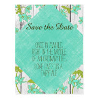 Rustic Wood and Floral with Quote Save the Date Postcard