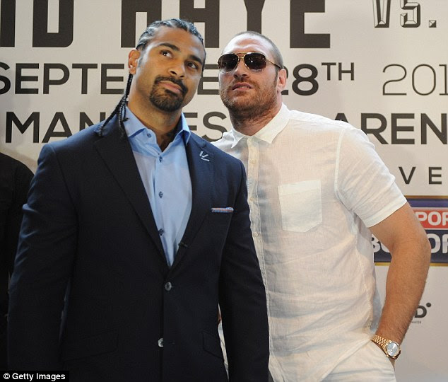 Fury (right) was set to fight David Haye on two separate occasions but the latter pulled out through injury