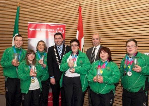 Cork County Council held a Mayoral Reception at County Hall to honour the tremendous accomplishments of six Cork competitors at the 2015 Special Olympics World Summer Games. Pictured (left to right): Colm Monahan, Ballincollig, Laura Aherne, Carrigaline, Trudy Hyland, College Road, Cllr. John Paul O'Shea, Mayor of the County of Cork, Lisa O'Brien, Ballyhea, Tim Lucey, Chief Executive, Cork County Council, Aoife O'Sullivan, Ballinlough and Sean Coleman, Youghal. Photo: Martin Walsh.