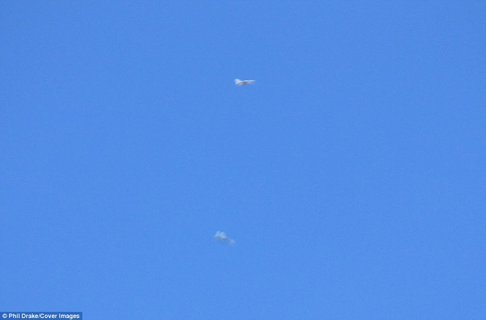 The Sukhoi, pictured at the bottom of this frame appears to be diving in order to defend itself from the F-16