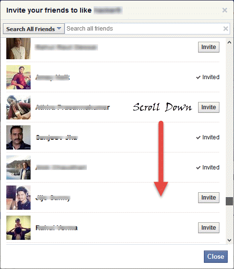 Facebook trick to invite all friends to fanpage