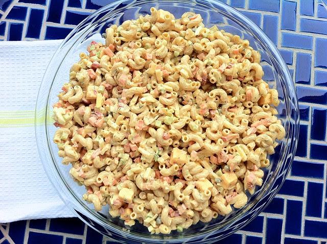 Cheddar Macaroni Salad Overhead
