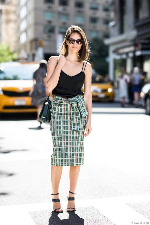 Le Fashion Blog Street Style Sunglasses Maria Duenas Jacobs Easy Chic Summer Look Black Cami Top Tie Front Pencil Skirt Black Ankle Strap Sandals Via Sandra Semburg