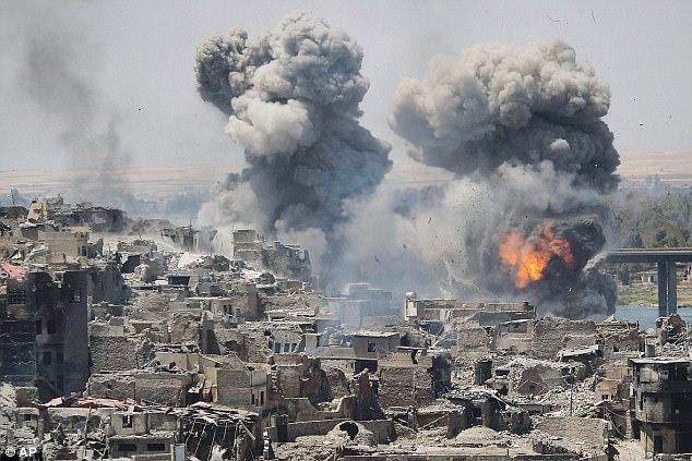 Lahur Talabany said he was 99 per cent sure that al-Baghdadi, who was reported to have been killed in an airstrike in Iraq. Pictured: An airstrike on Mosul, Iraq, last week