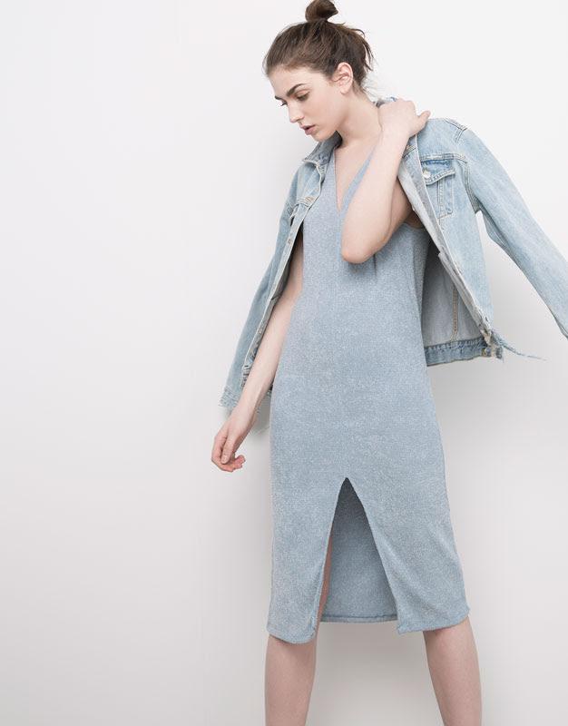 Pull&Bear - mujer - vestidos - vestido cuello pico - indigo - 05390332-V2016