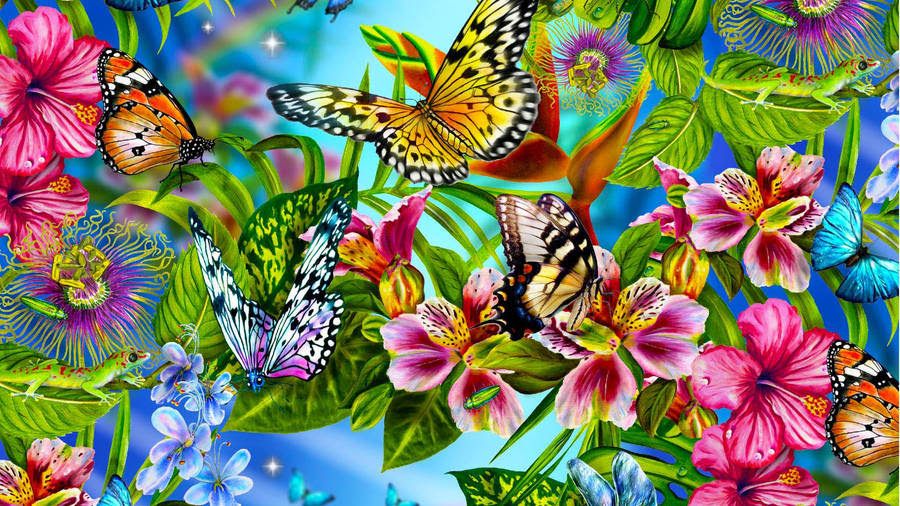 Butterfly On Purple Rose Wallpaper Digital Art Wallpapers 14325