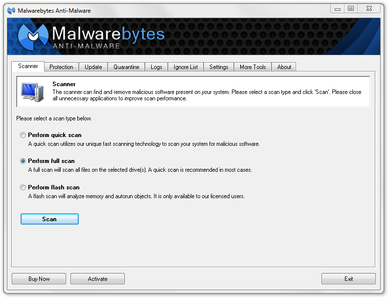 Malwarebytes Perform Full Scan