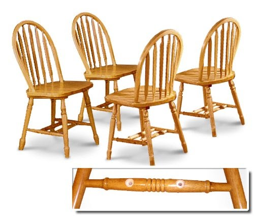 Dining room chairs set of 4 four oak stained arrow back for Discount dining chairs set of 4