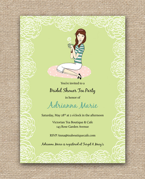 Bridal Shower Tea Party DIY Design Invitation - Printables in Green, Shop at Etsy