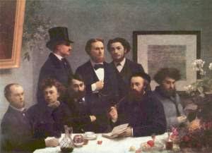 """""""Le coin de table"""" - Henri Fantin-Latour - 1872. Verlaine e Rimbaud são os dois primeiros à esquerda"""