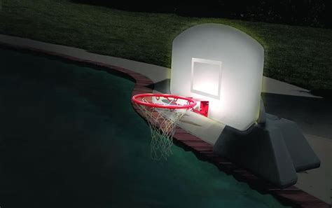 Lighted Poolside Basketball Hoop For Day Or Night Water