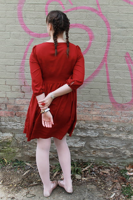 Valentine-y outfit: red baby doll dress from H&M, pink tights, satin ballet flats, vintage heart-shaped sunnies, rose ring made by me, pearls from my aunt Martha's shop