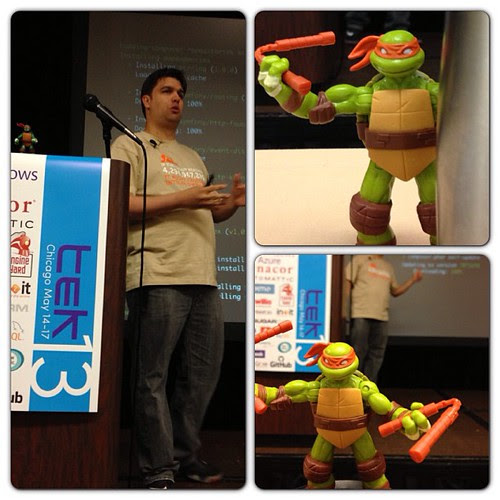 Teenage Mutant PHP Turtles taking over @rdohms ' talk #tek13