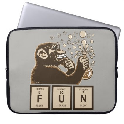 Chemistry monkey discovered fun laptop sleeve