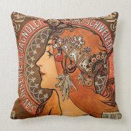 Beautiful ladies profile - Mucha throwpillow
