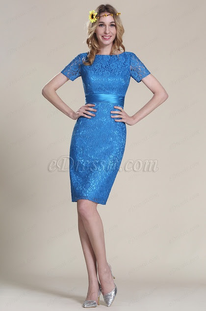 Short Sleeves Blue Lace Bridesmaid Dress