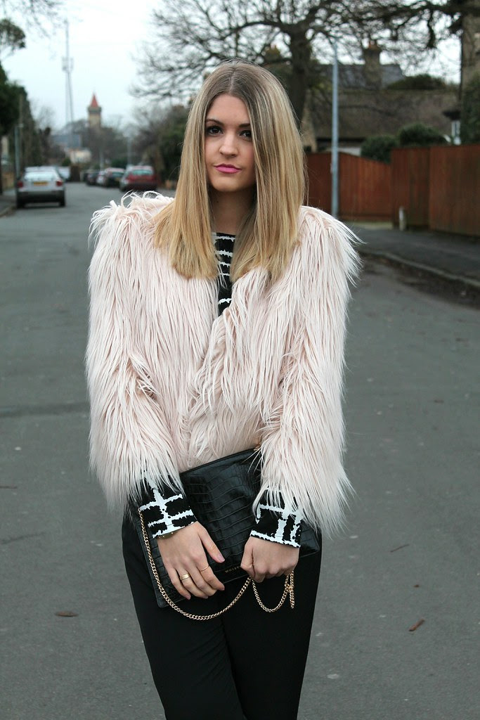 Missguided Fur Jacket and Whistles Clutch