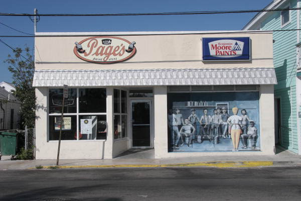 Page's Paint store at 1114 White Street showing wall mural by artist Rick Worth - Key West, Florida