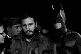 His doctored images are often surreal, like this one of Fidel Castro and Batman.
