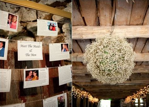 wedding party introduction wall, hanging baby's breath