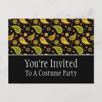 Halloween Paisley Invitation Postcard postcard