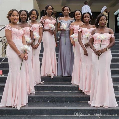 Nigerians Pink Bridesmaid Dresses 2018 Off The Shoulder