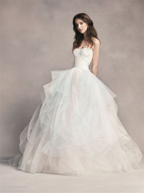Strapless Blue Ombre Tulle Ball Gown White by Vera Wang