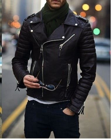 mens biker leather jacket mens fashion black motorcycle