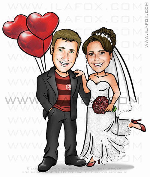 caricatura clássica, caricatura noivos, caricatura personalizada, caricatura para casamento, by ila fox