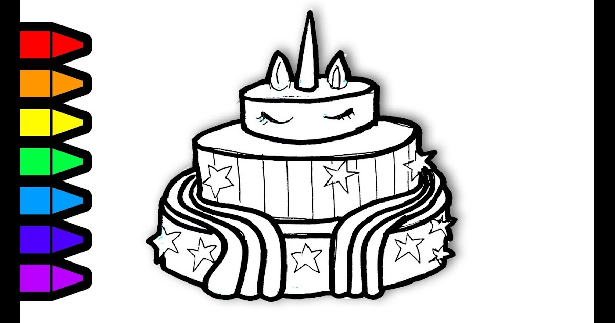 Unicorn Cakes: Unicorn Cake Colouring Pages