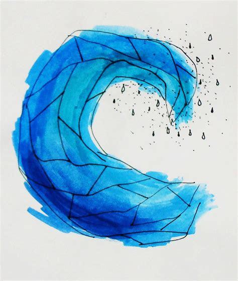 crashing wave blue watercolour abstract geometric tattoo