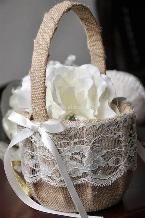Linen Flower Decorated Wedding Baskets,Girls Basket For